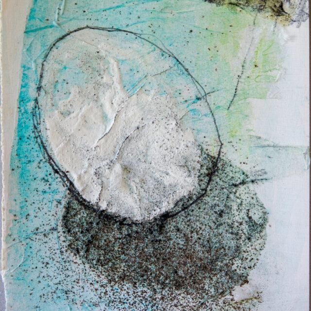 Bezug 3: 24x30,Acryl, Gesteinsmehle, Bleistift, Kreide auf Papier,2017