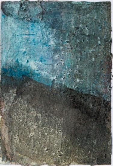 Blau: 15x20,Acryl, Gesteinsmehle, Kreide, Bleistift auf Papier,2016
