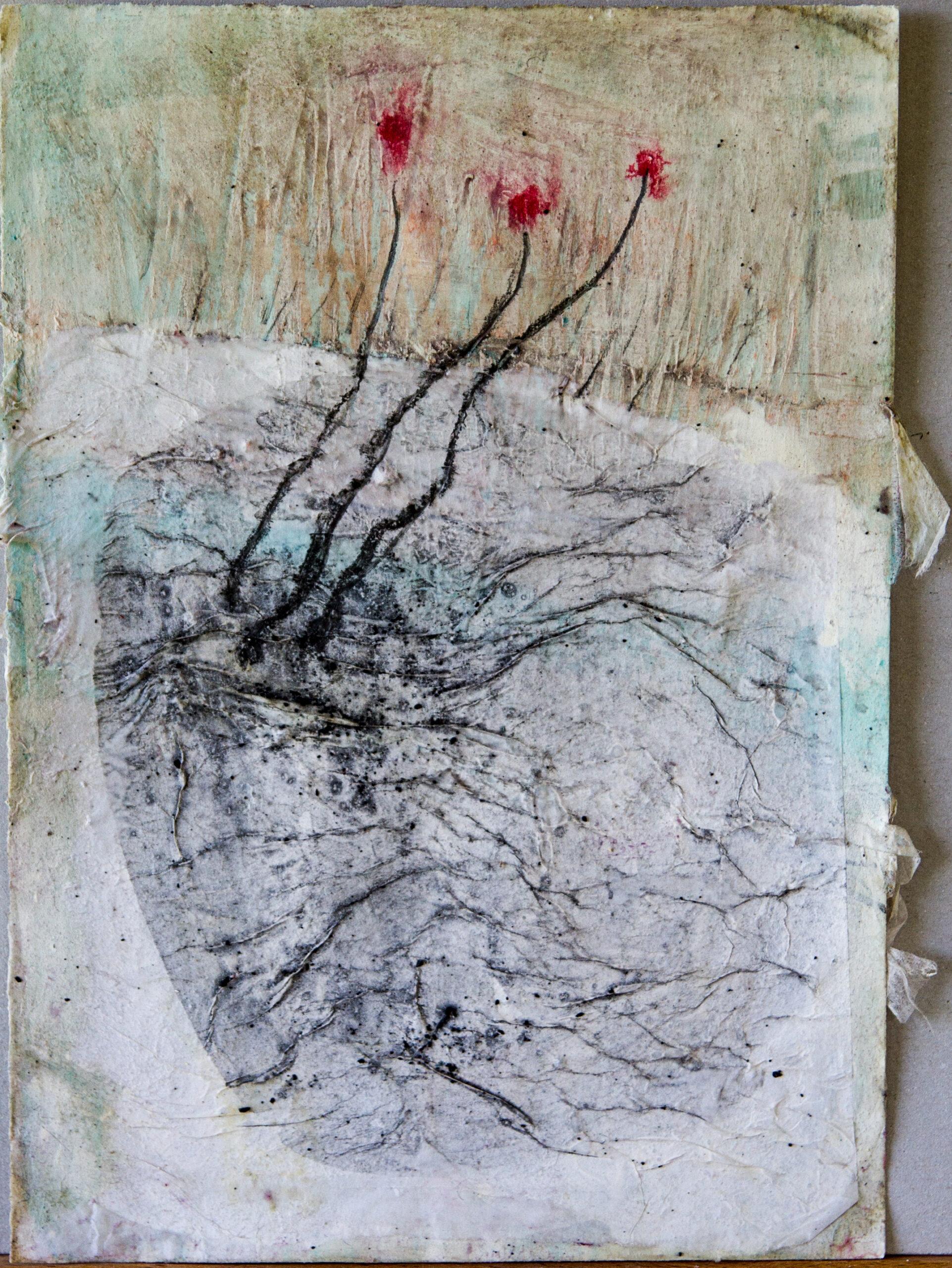 Blühen: 24x30,Acryl, Gesteinsmehle, Pigmente, Bleistift, Kreide, Papier auf Papier,2014