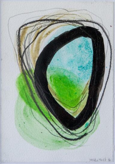 Grünerei: 15x20,Acryl, Gesteinsmehle, Bleistift, Kreide auf Papier,2014