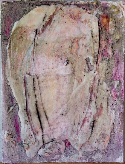 Innehalten rot 1: 30x40,Acryl, Gesteinsmehle, Pigmente, Bleistift, Kreide, Wachs, Papier auf HDF Platte