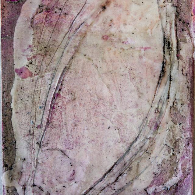Innehalten rot 2: 30x40,Acryl, Gesteinsmehle, Pigmente, Bleistift, Kreide, Wachs, Papier auf HDF Platte