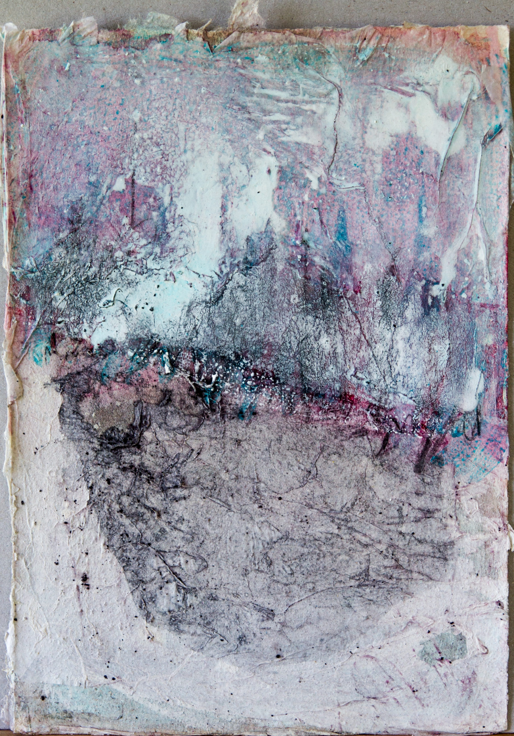 Keim: 24x30,Acryl, Gesteinsmehle, Pigmente, Bleistift, Kreide, Papier auf Papier,2014