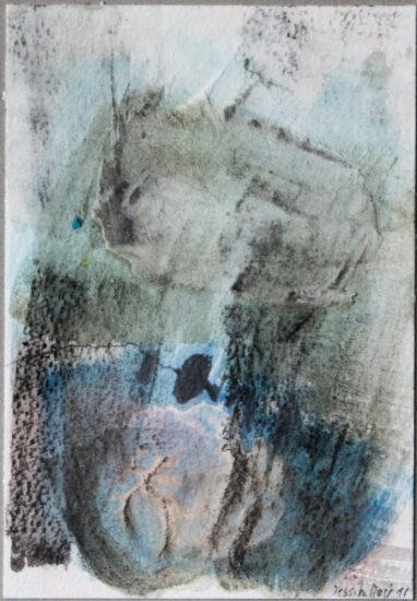Kleinod: 15x20,Acryl, Gesteinsmehle, Graphit, Bleistift auf Papier,2016