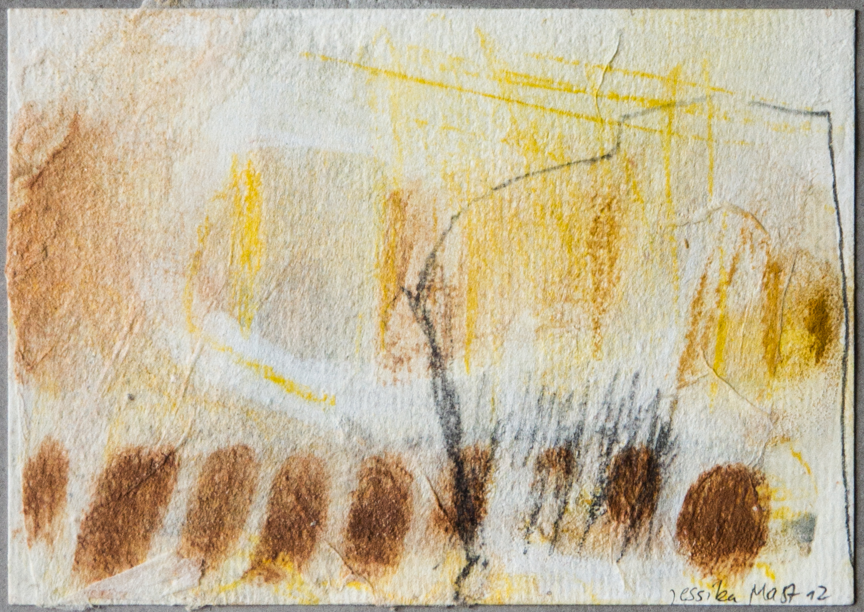 Land 1: 15x20,Acryl, Gesteinsmehle, Kreide, Bleistift auf Papier,2012