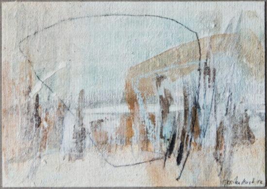Land 2: 15x20, Acryl, Gesteinsmehle, Kreide, Bleistift auf Papier, 2012