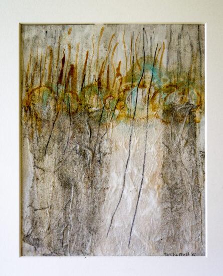 Nebelliebe 2: 30x40,Acryl, Gesteinsmehle, Bleistift, Kreide, Papier auf Papier oder OSB,2012