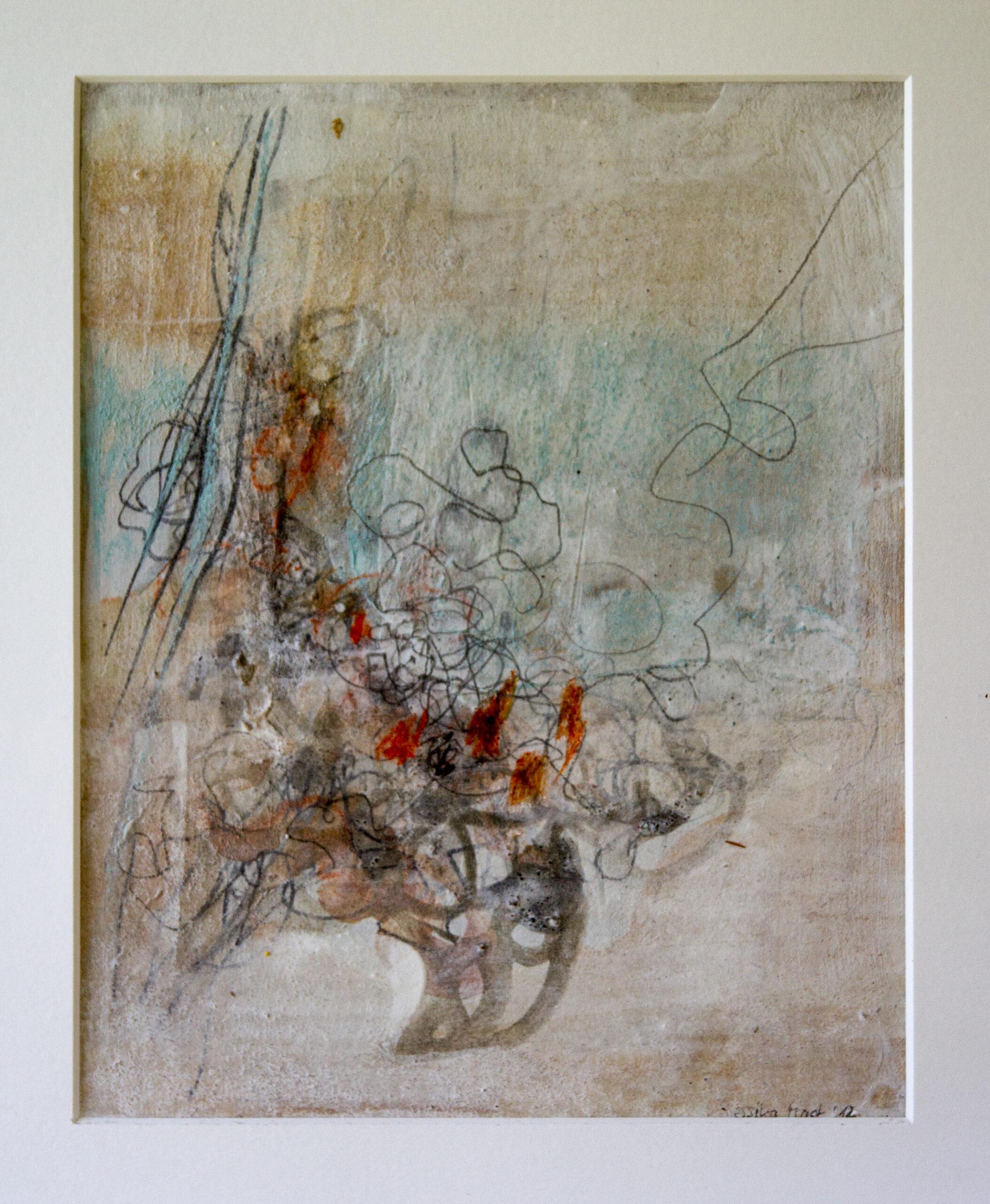 Nebelliebe 3: 30x40,Acryl, Gesteinsmehle, Bleistift, Kreide, Papier auf Papier oder OSB,2012