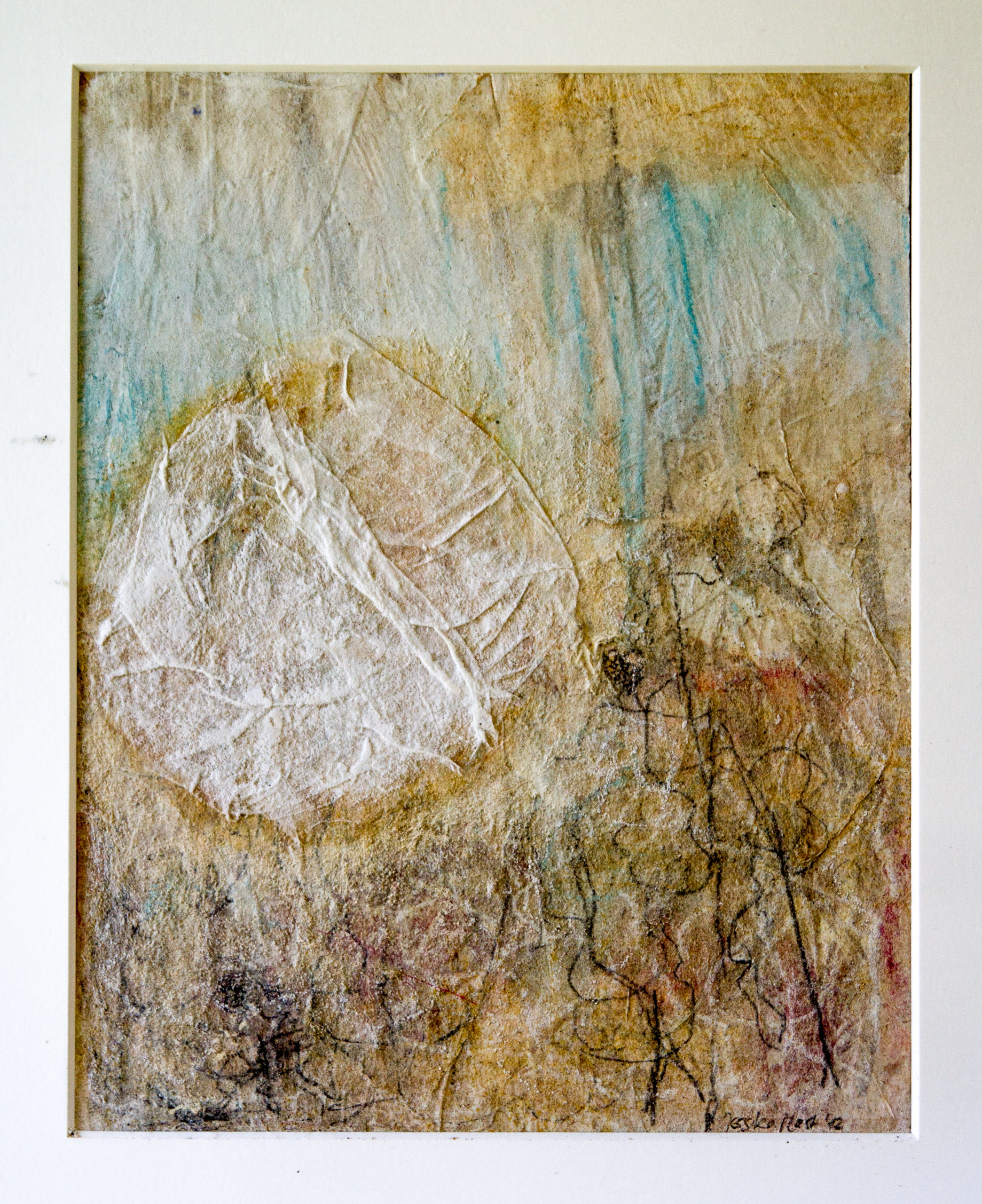 Nebelliebe 4: 30x40,Acryl, Gesteinsmehle, Bleistift, Kreide, Papier auf Papier oder OSB,2012