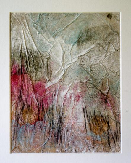 Nebelliebe 5: 30x40,Acryl, Gesteinsmehle, Bleistift, Kreide, Papier auf Papier oder OSB,2012