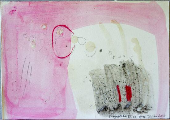 Satyagraha VII: 26-teilige Serie,Gesteinsmehle, Kreide, Bleistift, Pigmente auf Papier,August 2012
