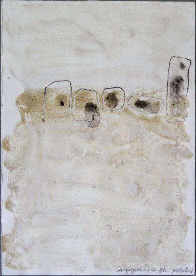 Satyagraha V: 26-teilige Serie,Gesteinsmehle, Kreide, Bleistift, Pigmente auf Papier,August 2012