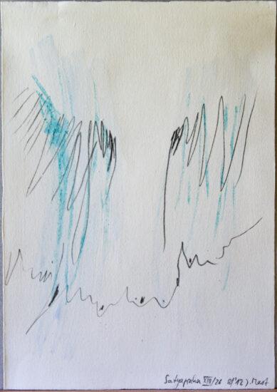 Satyagraha XIII: 26-teilige Serie,Gesteinsmehle, Kreide, Bleistift, Pigmente auf Papier,August 2012