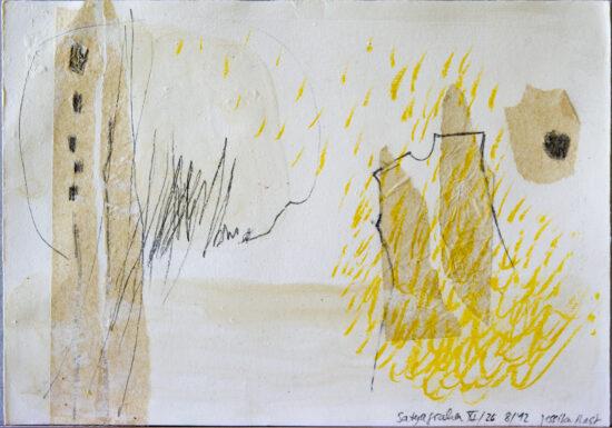 Satyagraha XI: 26-teilige Serie,Gesteinsmehle, Kreide, Bleistift, Pigmente auf Papier,August 2012