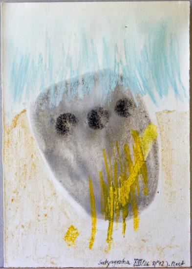 Satyagraha XVI: 26-teilige Serie,Gesteinsmehle, Kreide, Bleistift, Pigmente auf Papier,August 2012