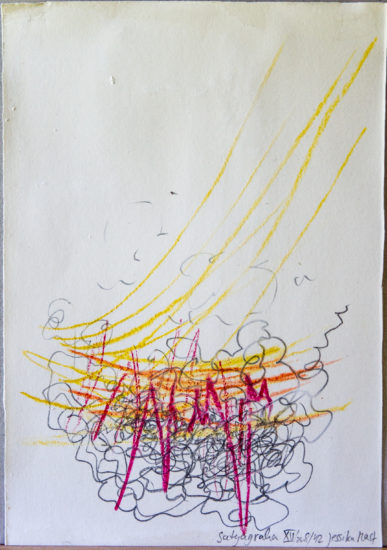 Satyagraha XV: 26-teilige Serie,Gesteinsmehle, Kreide, Bleistift, Pigmente auf Papier,August 2012