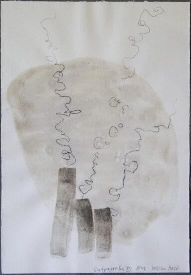 Satyagraha XX: 26-teilige Serie,Gesteinsmehle, Kreide, Bleistift, Pigmente auf Papier,August 2012