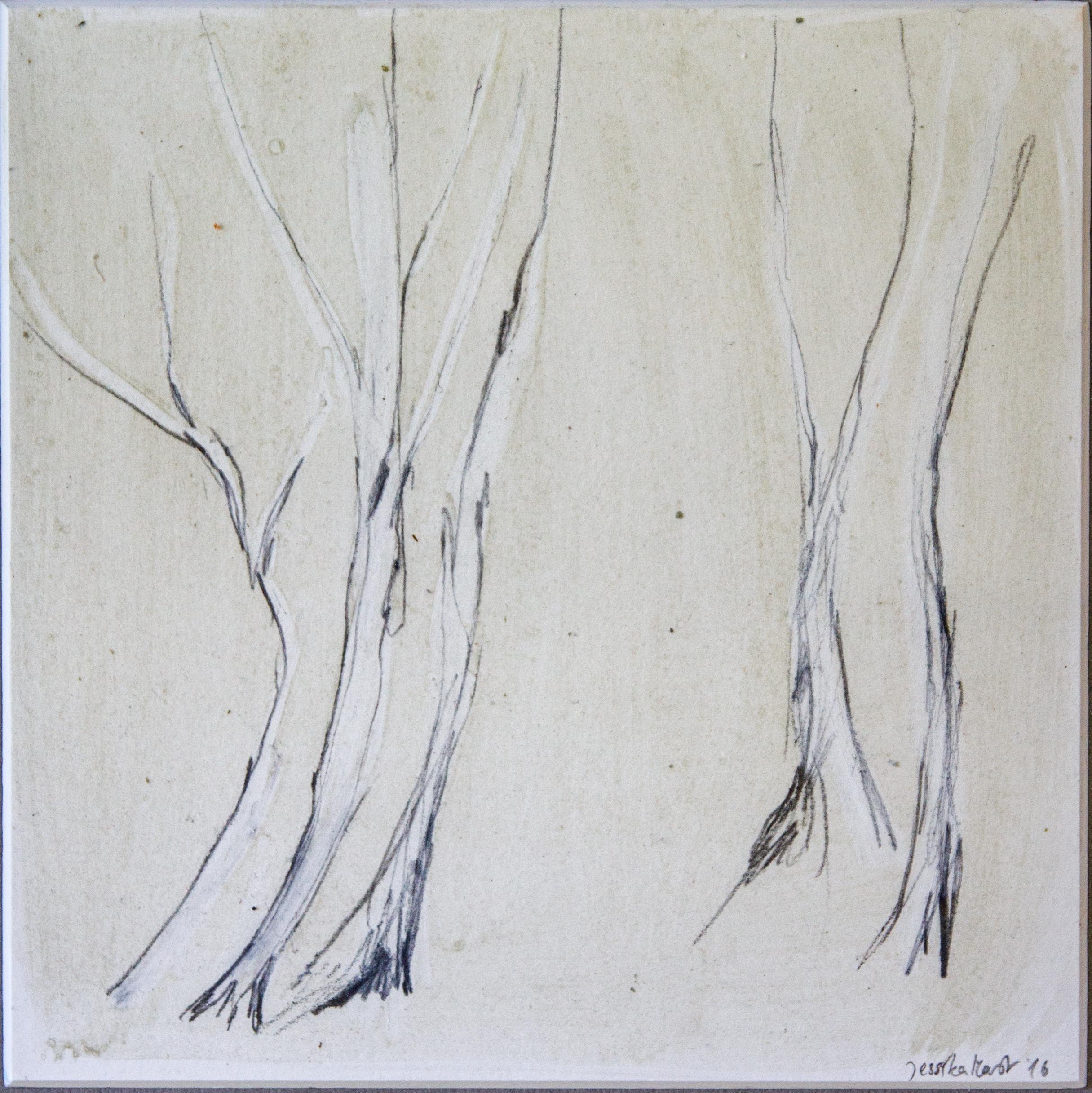 Wald 1: 24x30,Acryl, Gesteinsmehle, Bleistift, Buntstift auf Passepartout,2016