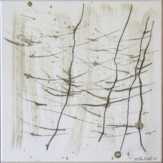 Wald 2: 24x30,Acryl, Gesteinsmehle, Bleistift, Buntstift auf Passepartout,2016