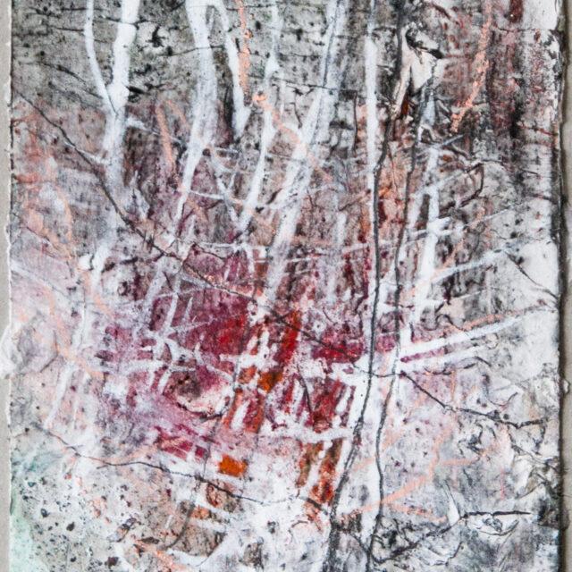 Winterhoffnung: 15x20,Acryl, Gesteinsmehle, Graphit, Bleistift, Buntstift, Papier auf Papier,2017