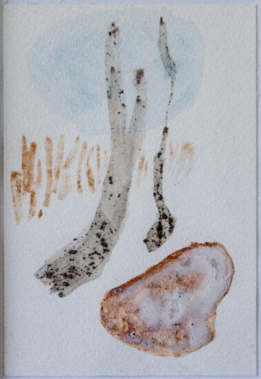 Winterweiß 1: 15x20,Acryl, Gesteinsmehle, Bleistift auf Papier,2014