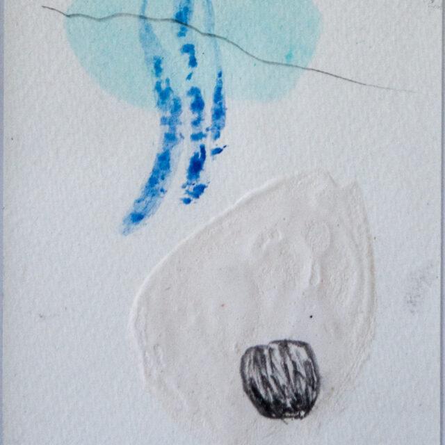Winterweiß 3: 15x20,Acryl, Gesteinsmehle, Bleistift auf Papier,2014