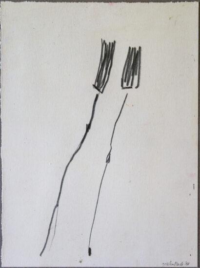 Zweisam 1: 24x30,Acryl, Gesteinsmehle, Bleistift, Buntstift auf Papier,2016
