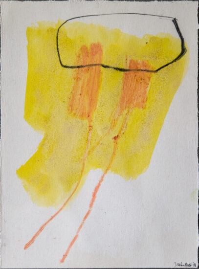 Zweisam 5: 24x30,Acryl, Gesteinsmehle, Bleistift, Buntstift auf Papier,2016